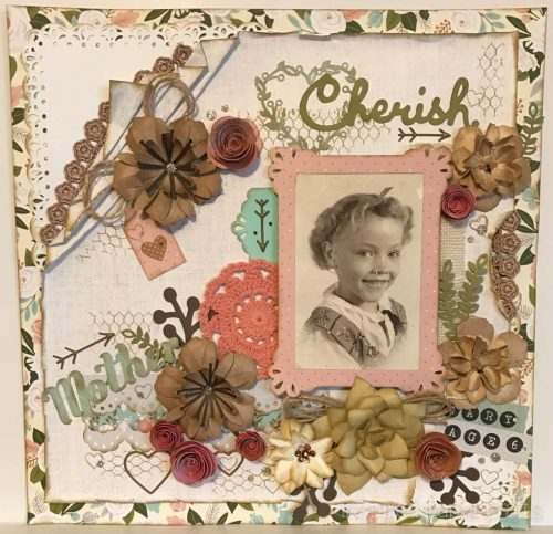 #CTMH Hello Lovely - Cherish - Heritage Scrapbook Layout - Inspired Paper Crafts - Watermarked
