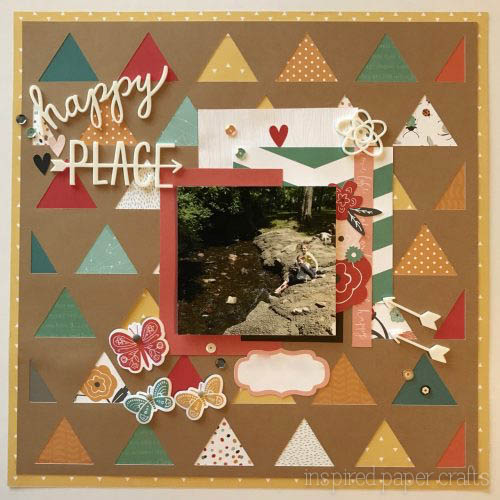 #CTMH Dreamin Big - Happy Place Scrapbook Layout - Inspired Paper Crafts - Watermarked
