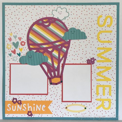 #CTMHlittledreamer - Summer Sunshine Scrapbook Layout Inspired Paper Crafts - Watermarked