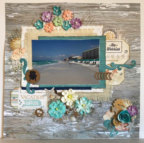 #CTMHNoWorries - Beach Themed Layout - Inspired Paper Crafts - Watermarked