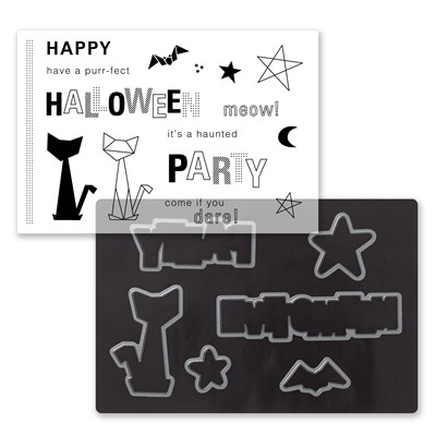 Cats & Bats Cardmaking Stamp + Thin Cuts (Z4040)
