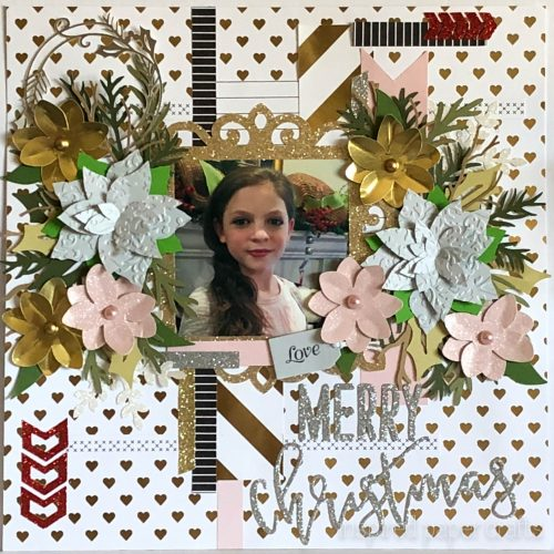 #CTMHSilver&Gold - Merry Christmas - Christmas Scrapbook Layout-Inspired Paper Crafts - Watermarked